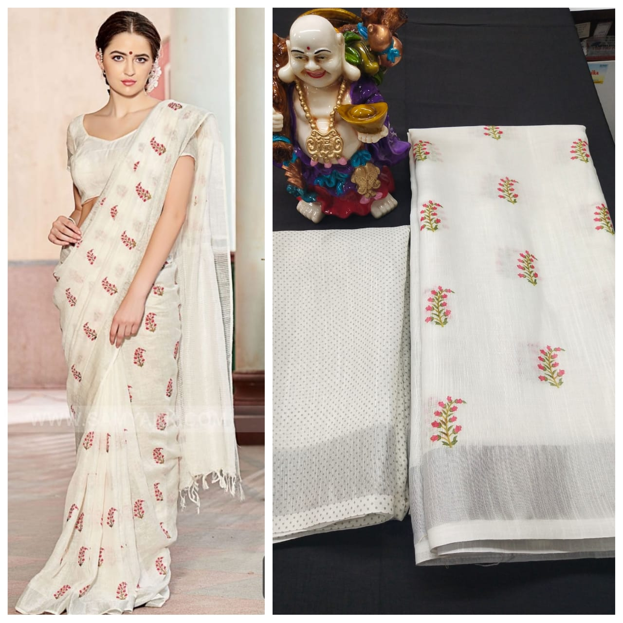 Linen Digital Printed Saree MS-1625