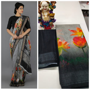 Flower Print Designer Linen Digital Printed Saree MS-1638