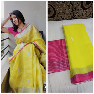 Yellow And Pink Designer Linen Digital Printed Saree MS-1640