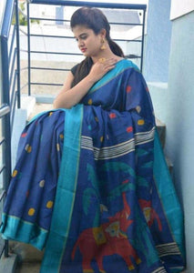 Blue Designer Linen Digital Printed Saree MS-1647