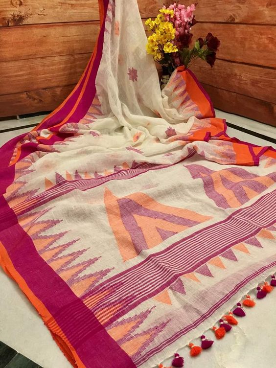 Designer Linen Digital Printed Saree MS-1700