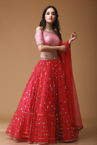 SEQUIN SCATTER RED LEHENGA WITH PINK OFF SHOULDER BLOUSE- NV-002