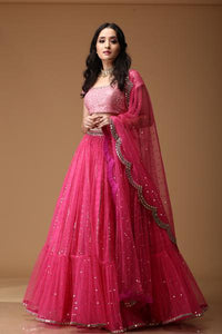 PINK LINEAR SEQUIN POLKA FRILL LEHENGA WITH LIGHT PINK BLOUSE- NV-004