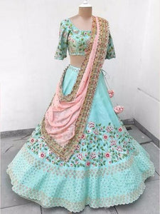 Sky Blue Colour Designer Embroidered Lehenga Choli