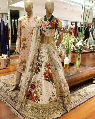 Fancy Flower Printed Crape  Lehenga Choli