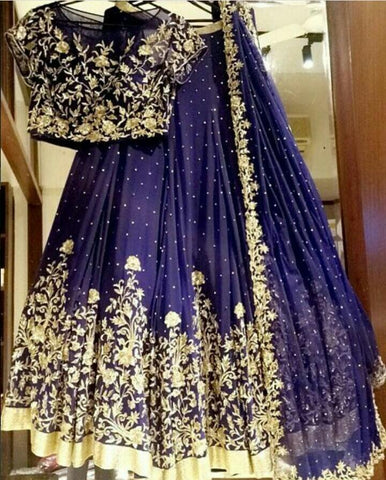 Awesome Party Wear Navy Blue Lehenga Choli