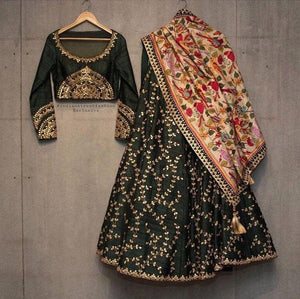 New Look Wedding Wear Dark Green Lehenga Choli