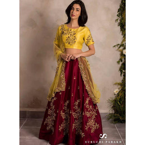 Adhesive Maroon And Yellow Colour Embroidered Lehenga Choli