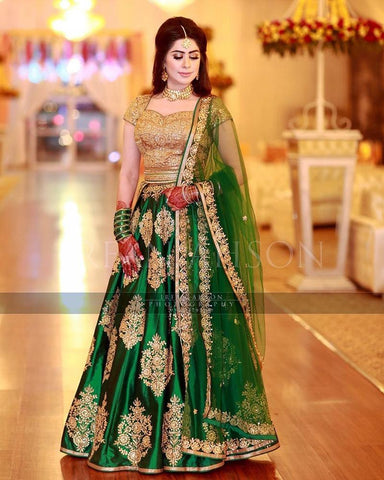 Designer Wedding Wear Dark Green Semi-Stitched Lehenga Choli