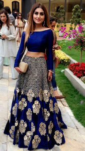 New Look Mulberry Silk Semi-Stitched  Lehenga Choli