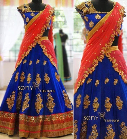 New Wedding Wear Designer Royal Blue Lehenga Choli