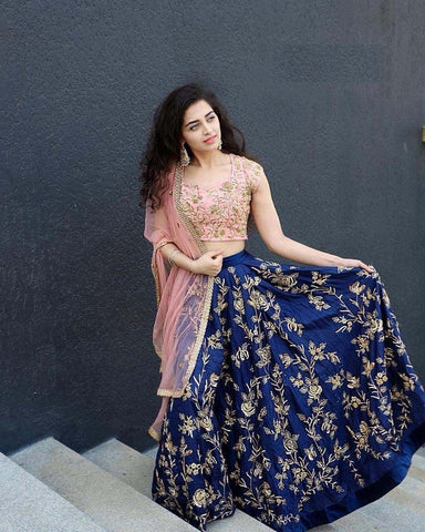 Trendy Blue Color Embroidered Semi Stitched Lahenga Choli