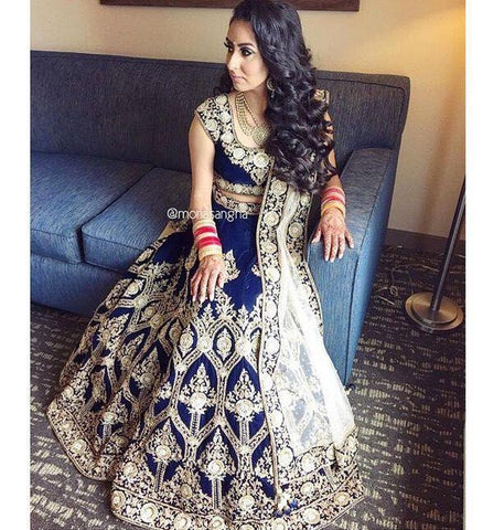 Megical Party Wear Navy Blue Color Embroidered Semi Stitched Lahenga Choli
