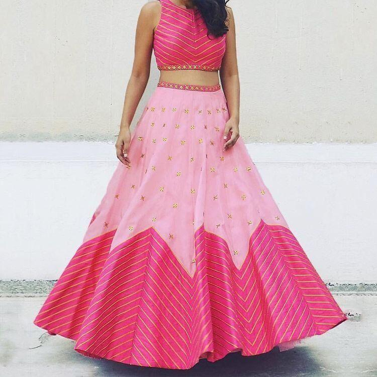 Trendy Pink Color Embroidered Semi Stitched Lahenga Choli