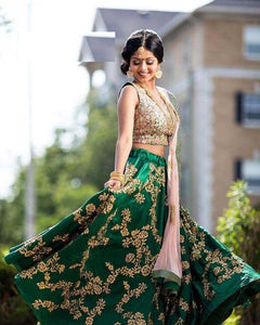Awsome Green Color Designer Embroidered Semi Stitched Lahenga Choli