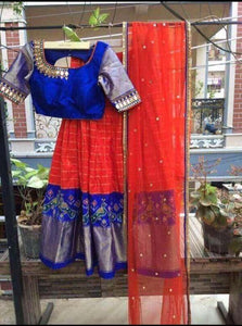 Beautiful Red And Blue Color Embroidered Semi Stitched Lahenga Choli