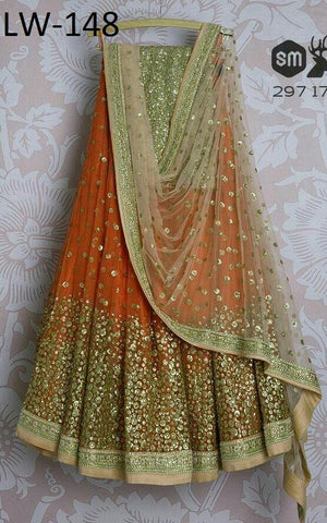 Trendy Orange Color Embroidered Semi Stitched Lahenga Choli