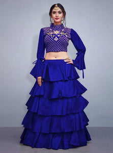 Party Wear Rich Blue Color Embroidered Semi Stitched Lahenga Choli