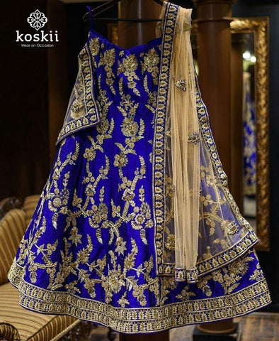 Megical Party Wear Blue Color Embroidered Semi Stitched Lahenga Choli