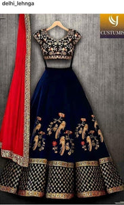 Indian Wedding Navy Blue Color Embroidered Semi Stitched Lahenga Choli