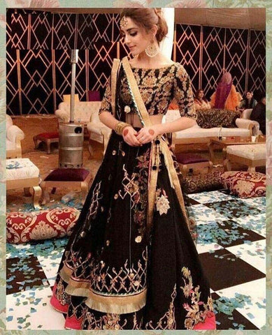 Deserving Party Wear Black Color Embroidered Semi Stitched Lahenga Choli