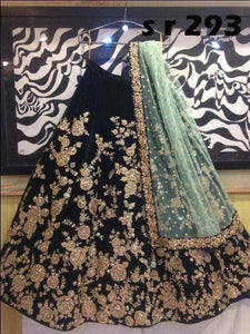 Wedding Style Black Color Embroidered Semi Stitched Lahenga Choli