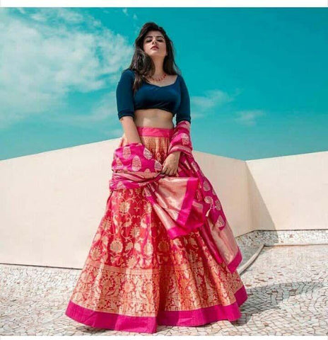 Designer Pink Color Embroidered Semi Stitched Lahenga Choli