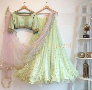 Pretty Pista Color Embroidered Semi Stitched Lahenga Choli