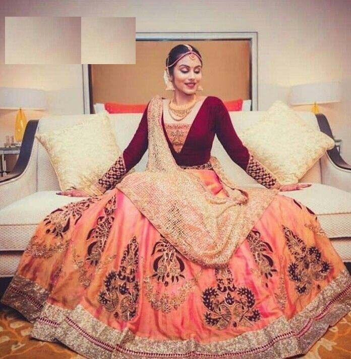 Outstending Peach Color Embroidered Semi Stitched Lahenga Choli
