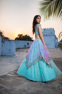 Preferable Sky Blue Color Embroidered Semi Stitched Lahenga Choli