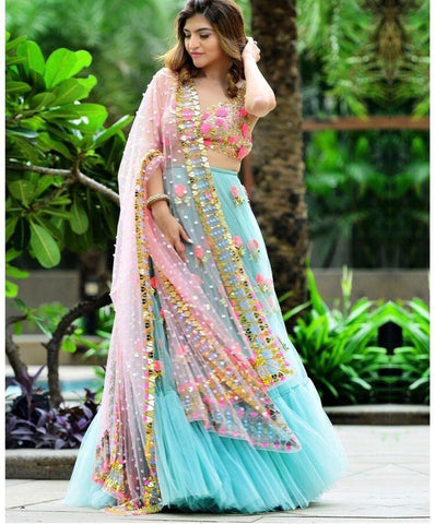 Outstanding Sky Blue Color Embroidered Semi Stitched Lahenga Choli