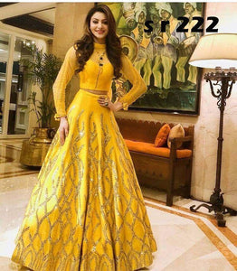 Alluring Party Wear Yallow Color Embroidered Semi Stitched Lahenga Choli