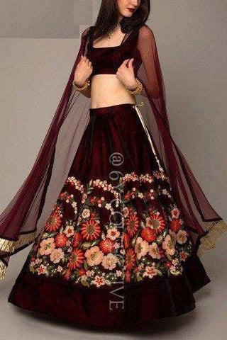Beautiful Party Wear Maroon Color Embroidered Semi Stitched Lahenga Choli