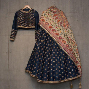 Designer Navy Blue Color Embroidered Semi Stitched Lahenga Choli