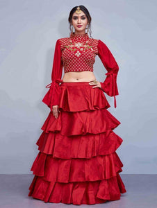 Stunning Red Color Embroidered Semi Stitched Lahenga Choli
