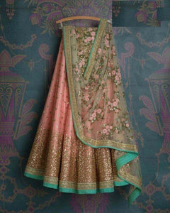 Beautiful Pink Color Embroidered Semi Stitched Lahenga Choli