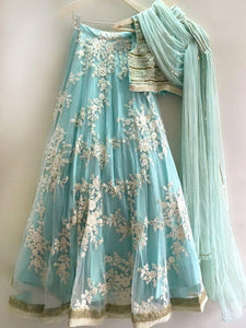 Trendy Sky Blue Color Embroidered Semi Stitched Lahenga Choli