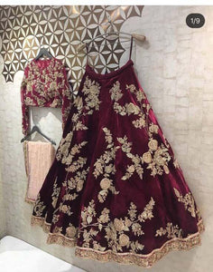 Gleaming Maroon Color Embroidered Semi Stitched Lahenga Choli