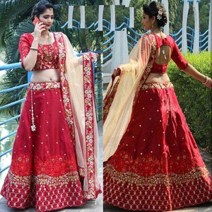 Outstanding Simple Red Color Embroidered Semi Stitched Lahenga Choli