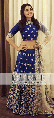 Pretty Navy Blue Color Embroidered Semi Stitched Lahenga Choli