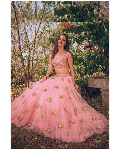 Fantastic Pink Color Embroidered Semi Stitched Lahenga Choli