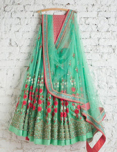 Beautiful Green Color Embroidered Semi Stitched Lahenga Choli