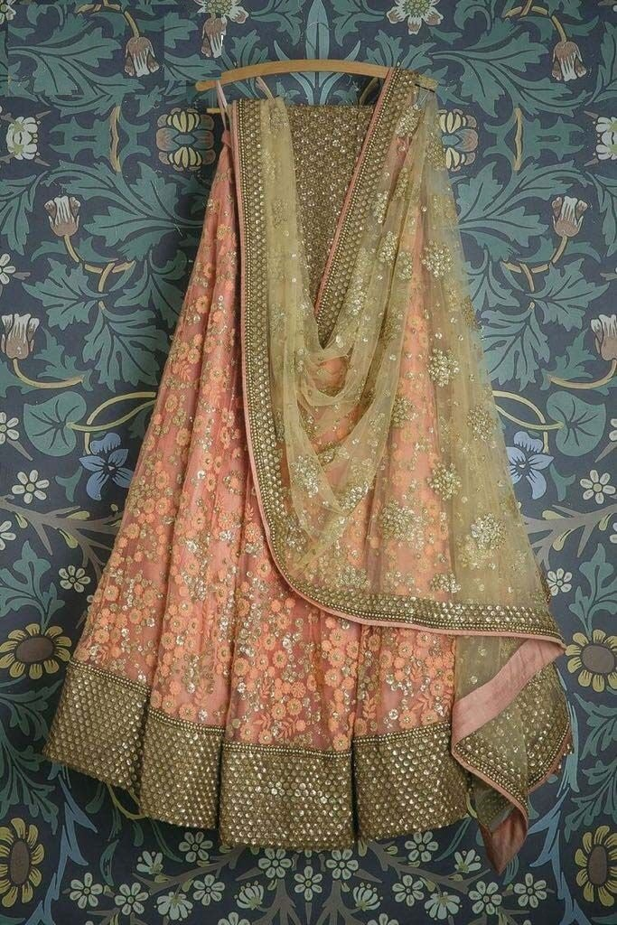 Fancy Peach Color Embroidered Semi Stitched Lahenga Choli