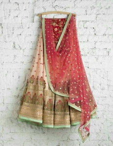 Beautiful Off White Color Embroidered Semi Stitched Lahenga Choli