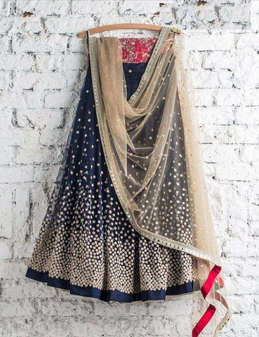 Charming Navy Blue Color Embroidered Semi Stitched Lahenga Choli