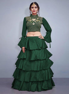 Gleaming Dark Green Color Embroidered Semi Stitched Lahenga Choli