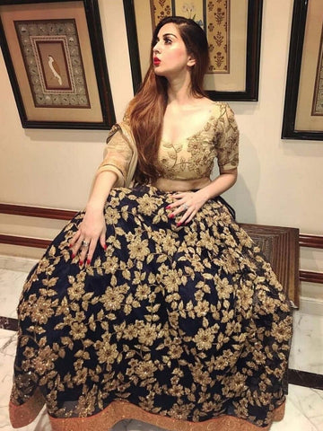 Designer Dark Blue Color Embroidered Semi Stitched Lahenga Choli