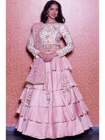 Fancy Party wear Pink Color Embroidered Semi Stitched Lahenga Choli