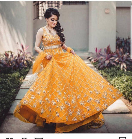 Indian Wear Yallow Color Embroidered Semi Stitched Lahenga Choli
