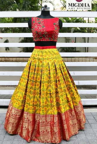 Fancy Multi Color Embroidered Semi Stitched Lahenga Choli
